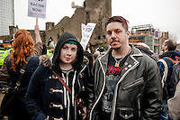 Saturday 05 April 2014<br /> Pictured: Jody Owen and A J Laveaux From Swansea who attended the Protest <br /> Re: White Pride and Anti Fascist groups protest in Swansea City Cebtre