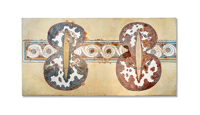 Minoan wall art fresco of a 'figure of eight' shield from Knossos Palace, 1450-1300 BC. Heraklion Archaeological Museum.  White Background. <br /> <br /> <br /> The Final Palatial Period Minoan fresco is from the Grand Staircase of the Palace of Knossos and is a Trompe-l'œil  of minoan warriors shields covered with ox hide.