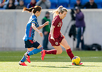 HARRISON, NJ - MARCH 08: Lauren Hemp #20 of England dribbles during a game between England and Japan at Red Bull Arena on March 08, 2020 in Harrison, New Jersey.
