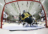 Pat Mullane (BC - 11), Patrick Wey (BC - 6), Adam Ross (Merrimack - 26), Joe Cannata (Merrimack - 35), Jimmy Hayes (BC - 10) (Hayes' goal) - The Boston College Eagles defeated the Merrimack College Warriors 4-3 on Friday, October 30, 2009, at Conte Forum in Chestnut Hill, Massachusetts.