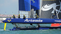 Artemis Racing, JULY 23, 2016 - Sailing: Nathan Outteridge Skipper of Artemis Racing rounds a mark during day one of the Louis Vuitton America's Cup World Series racing, Portsmouth, United Kingdom. (Photo by Rob Munro/AFLO)