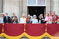 Prince Edward, Camilla Duchess of Corwall, Prince Charles, Queen, Prince Phillip, Camilla Duchess of Cornwall, Prince Charles, Queen, Prince Phillip, Catherine Duchess of Cambridge, Princess Charlotte, Prince George, Prince William, Savannah and Isla Phillips, Peter Phillips<br /> on the balcony of Buckingham Palace during Trooping the Colour on The Mall, London. <br /> <br /> <br /> ©Ash Knotek  D3283  17/06/2017