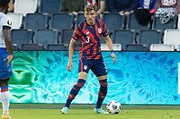 KANSAS CITY, KS - JULY 11: Sam Vines #3 of the United States looks for an open man during a game between Haiti and USMNT at Children's Mercy Park on July 11, 2021 in Kansas City, Kansas.