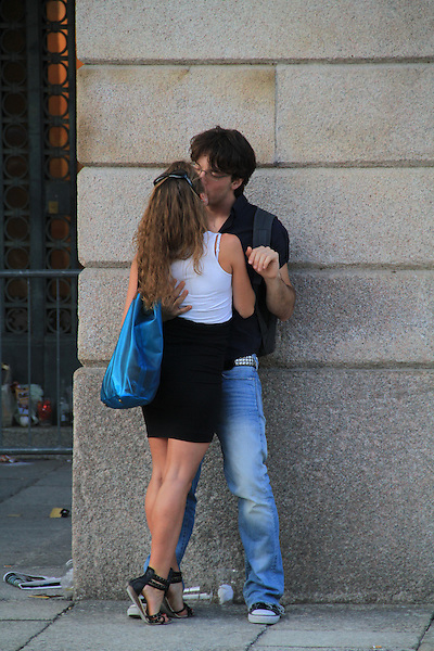 Lovers in Milan, Italy.