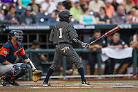 Vanderbilt Commodores designated hitter Ro Coleman (1) at bat during the NCAA College baseball World Series against the Cal State Fullerton Titans on June 14, 2015 at TD Ameritrade Park in Omaha, Nebraska. The Titans were leading 3-0 in the bottom of the sixth inning when the game was suspended by rain. (Andrew Woolley/Four Seam Images)