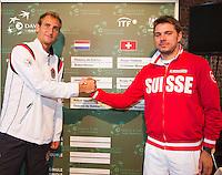 13-09-12, Netherlands, Amsterdam, Tennis, Daviscup Netherlands-Swiss, Draw  Thiemo de Bakker(L) and Stanislas Wawrinka