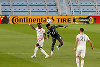 ST PAUL, MN - SEPTEMBER 06: Romain Metanire #19 of Minnesota United FC heads the ball during a game between Real Salt Lake and Minnesota United FC at Allianz Field on September 06, 2020 in St Paul, Minnesota.