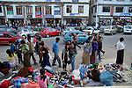 Bhutanese people shopping at Thimpu market . Arindam Mukherjee..