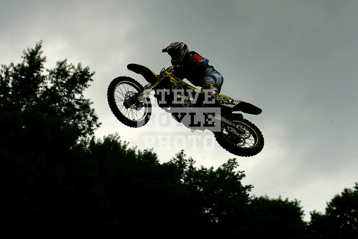 Riders practice on the course at the Unadilla Valley Sports Center in New Berlin, New York on July 15, 2006, during the AMA Toyota Motocross Championship.