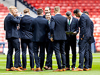 22nd May 2021; Hampden Park, Glasgow, Scotland; Scottish Cup Football Final, St Johnstone versus Hibernian; Hibs squad inspects the pitch before kick off