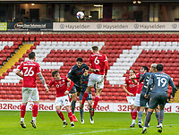 21st November 2020, Oakwell Stadium, Barnsley, Yorkshire, England; English Football League Championship Football, Barnsley FC versus Nottingham Forest; Mads Juel Andersen of Barnsley  wins a header from a Forrest corner