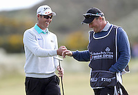 Saturday 30th May 2015;   Jaco Van Zyl, South Africa, enjoys a fist pump with caddie John Rawlings after his birdie at the 4th John<br /> <br /> Dubai Duty Free Irish Open Golf Championship 2015, Round 3 County Down Golf Club, Co. Down. Picture credit: John Dickson / SPORTSFILE