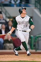 Allan Dykstra #10 of the Fort Wayne Tin Caps follows through on his swing versus the Dayton Dragons at Parkview Field April 16, 2009 in Fort Wayne, Indiana. (Photo by Brian Westerholt / Four Seam Images)