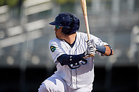Princeton Rays designated hitter Jonathan Aranda (17) at bat during the first game of a doubleheader against the Johnson City Cardinals on August 17, 2018 at Hunnicutt Field in Princeton, Virginia.  Johnson City defeated Princeton 6-4.  (Mike Janes/Four Seam Images)