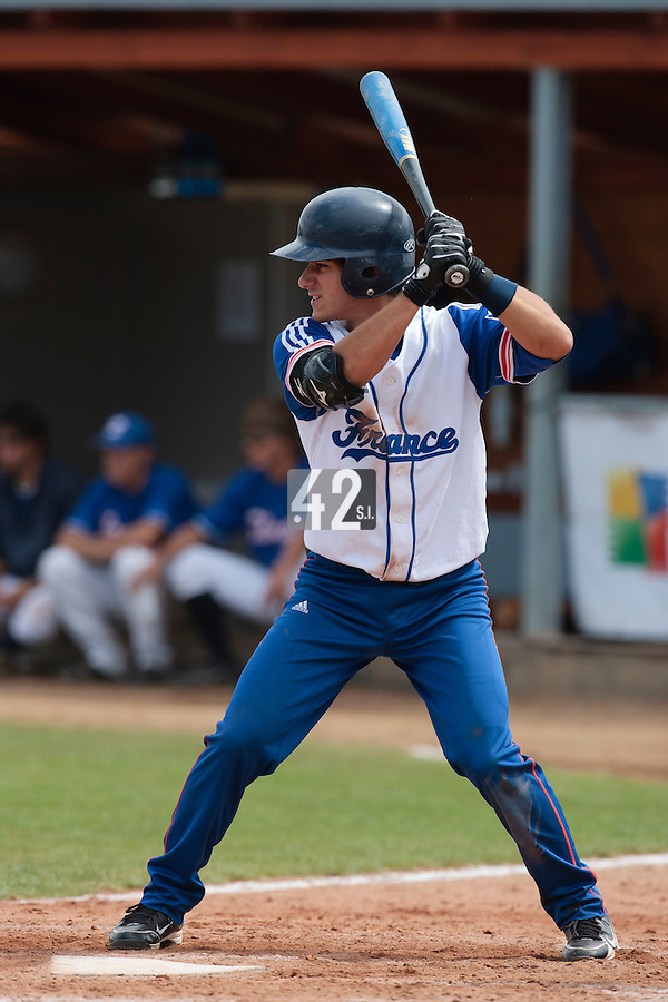 19 August 2010: Maxime Lefevre of Team France is seen at bat during France 7-6 win over Slovakia, at the 2010 European Championship, under 21, in Brno, Czech Republic.