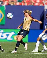 Cat Whitehill eyes the ball. USA defeated Brazil 2-0 at Giants Stadium on Sunday, June 23, 2007.