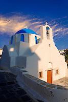 Blue domed white Byzantine Greek Orthodox Chapel of Panaghia Gremiotissa. Chora  (Hora), Ios, Cyclades Islands, Greece.
