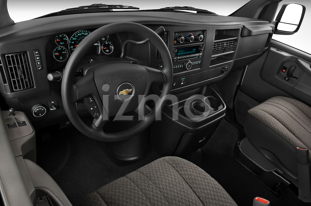 High angle dashboard view of a 2008 Chevrolet Express 3500 Passenger Van