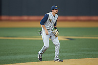 West Virginia Mountaineers shortstop Jimmy Galusky (3) on defense against the Wake Forest Demon Deacons in Game Six of the Winston-Salem Regional in the 2017 College World Series at David F. Couch Ballpark on June 4, 2017 in Winston-Salem, North Carolina. The Demon Deacons defeated the Mountaineers 12-8. (Brian Westerholt/Four Seam Images)