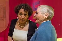 """Ausstellung """"Dialog mit der Zeit"""" im Museum fuer Kommunikation in Berlin-Mitte.<br /> Vom 1. April bis 23. August 2015 werden in der Ausstellung die Facetten des Alters und der Alterns erlebbar gemacht.<br /> Bundespraesident Joachim Gauck eroeffnete die Ausstellung am 31. Maerz 2015 mit einem Rundgang und einer Rede zu neuen Altersbildern in einer Gesellschaft des laengeren Lebens.<br /> Vlnr.: Orna Cohen, Kuratorin der Ausstellung und Gertrud Rosemann, 92. Sie ist die aelteste der Senior-Guides der Ausstellung.<br /> 31.3.2015, Berlin<br /> Copyright: Christian-Ditsch.de<br /> [Inhaltsveraendernde Manipulation des Fotos nur nach ausdruecklicher Genehmigung des Fotografen. Vereinbarungen ueber Abtretung von Persoenlichkeitsrechten/Model Release der abgebildeten Person/Personen liegen nicht vor. NO MODEL RELEASE! Nur fuer Redaktionelle Zwecke. Don't publish without copyright Christian-Ditsch.de, Veroeffentlichung nur mit Fotografennennung, sowie gegen Honorar, MwSt. und Beleg. Konto: I N G - D i B a, IBAN DE58500105175400192269, BIC INGDDEFFXXX, Kontakt: post@christian-ditsch.de<br /> Bei der Bearbeitung der Dateiinformationen darf die Urheberkennzeichnung in den EXIF- und  IPTC-Daten nicht entfernt werden, diese sind in digitalen Medien nach §95c UrhG rechtlich geschuetzt. Der Urhebervermerk wird gemaess §13 UrhG verlangt.]"""
