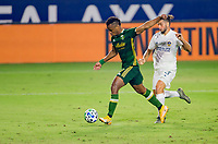 CARSON, CA - OCTOBER 07: Jeremy Ebobisse #17 of the Portland Timbers moves towards the goal during a game between Portland Timbers and Los Angeles Galaxy at Dignity Heath Sports Park on October 07, 2020 in Carson, California.