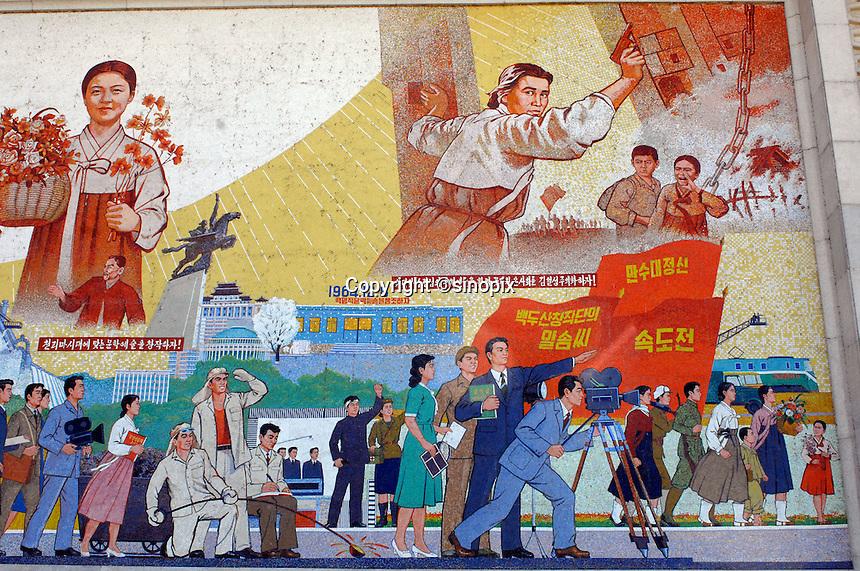 Propaganda poster in the Pyongyang film studios and sets, North Korea.