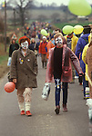 """Aldermaston to Greenham Common Easter 1983. Peace demonstrators formed a human chain stretching 14 miles. They lined a route along what the protesters call """"Nuclear Valley"""" in Berkshire. The chain started at the American airbase at Greenham Common, passed the Aldermaston nuclear research centre and ended at the ordnance factory in Burghfield. Girls with face paint CND symbol"""