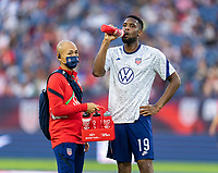 NASHVILLE, TN - SEPTEMBER 5: Jordan Pefok #19 of the United States drinks from a BioSteel bottle during a game between Canada and USMNT at Nissan Stadium on September 5, 2021 in Nashville, Tennessee.