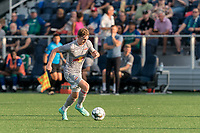 HARTFORD, CT - JULY 10: Cameron Harper #17 of New York Red Bulls II brings the ball forward during a game between New York Red Bulls II and Hartford Athletics at Dillon Stadium on July 10, 2021 in Hartford, Connecticut.