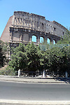 Outer wall of the Colosseum in the Monti district of Rome.