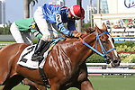 July 12, 2014: 2 year old Like a Queen (FL) with jockey Edgard Zayas on board breaks her maiden by passing favorite What's Up Kiddo at Gulfstream Park in Hallandale Beach FL.  a Takes her own route to the winner's circle, Like a Queen. Liz Lamont/ESW/CSM