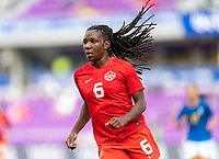 ORLANDO, FL - FEBRUARY 24: Deanne Rose #6 of Canada looks to the ball during a game between Brazil and Canada at Exploria Stadium on February 24, 2021 in Orlando, Florida.