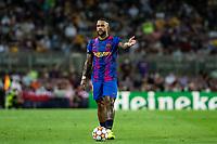 14th September 2021: Nou Camp, Barcelona, Spain: ECL Champions League football, FC Barcelona versus Bayern Munich: 9 Memphis Depay FC Barcelona player sets up a direct free kick