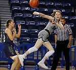 March 13, 2021— Savannah Walsdorf #14 of Dakota State (S.D.) saves a ball from out of bounds against Providence (Mont.) during NAIA Women's Opening Championship Rounds at Sokol Arena in Omaha, Nebraska (Photo by Richard Carlson/inertia)