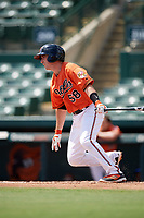 Baltimore Orioles Mason McCoy (58) at bat during an Instructional League game against the Pittsburgh Pirates on September 27, 2017 at Ed Smith Stadium in Sarasota, Florida.  (Mike Janes/Four Seam Images)