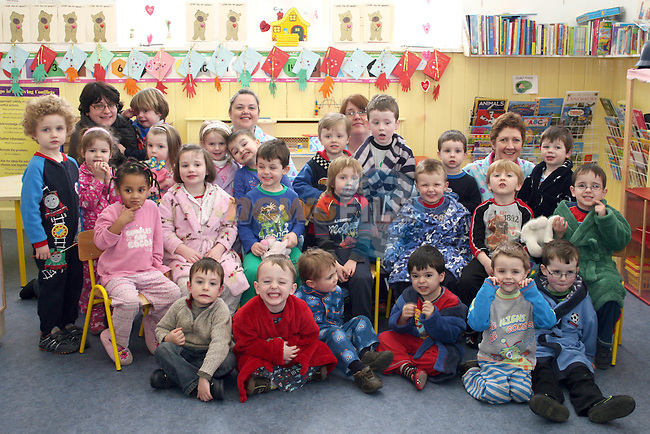 Pyjama Day in Mornington Pre-School in aid of the Haiti earthquake victims...Photo NEWSFILE/Jenny Matthews.(Photo credit should read Jenny Matthews/NEWSFILE)....This Picture has been sent you under the condtions enclosed by:.Newsfile Ltd..The Studio,.Millmount Abbey,.Drogheda,.Co Meath..Ireland..Tel: +353(0)41-9871240.Fax: +353(0)41-9871260.GSM: +353(0)86-2500958.email: pictures@newsfile.ie.www.newsfile.ie.FTP: 193.120.102.198.