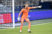 KANSAS CITY, KS - OCTOBER 24: William Yarbrough #50 Colorado Rapids gives instructions during a game between  at Children's Mercy Park on October 24, 2020 in Kansas City, Kansas.