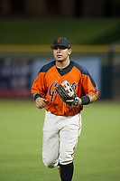AZL Giants right fielder Diego Rincones (35) jogs off the field between innings of the game against the AZL Reds on August 12, 2017 at Scottsdale Stadium in Scottsdale, Arizona. AZL Giants defeated the AZL Reds 1-0. (Zachary Lucy/Four Seam Images)