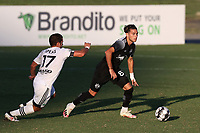 RICHMOND, VA - SEPTEMBER 30: Joey Zalinsky #85 of New York Red Bulls II is chased by Ben Speas #17 of North Carolina FC during a game between North Carolina FC and New York Red Bulls II at City Stadium on September 30, 2020 in Richmond, Virginia.