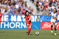 Cary, NC - Sunday October 22, 2017: Lee Mina during an International friendly match between the Women's National teams of the United States (USA) and South Korea (KOR) at Sahlen's Stadium at WakeMed Soccer Park. The U.S. won the game 6-0.