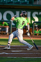 Max Dutto (6) of the Great Falls Voyagers at bat against the Ogden Raptors in Pioneer League action at Lindquist Field on August 16, 2016 in Ogden, Utah. Ogden defeated Great Falls 2-1. (Stephen Smith/Four Seam Images)