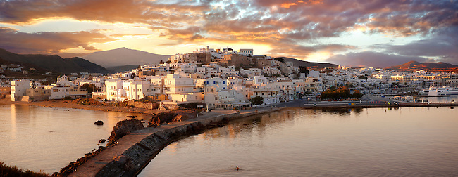Naxos town (Chora) at sunset. Greek Cyclades Islands Greece