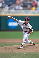 Mississippi State Bulldogs pitcher Peyton Plumlee (13) delivers a pitch to the plate during Game 8 of the NCAA College World Series against the Vanderbilt Commodores on June 19, 2019 at TD Ameritrade Park in Omaha, Nebraska. Vanderbilt defeated Mississippi State 6-3. (Andrew Woolley/Four Seam Images)
