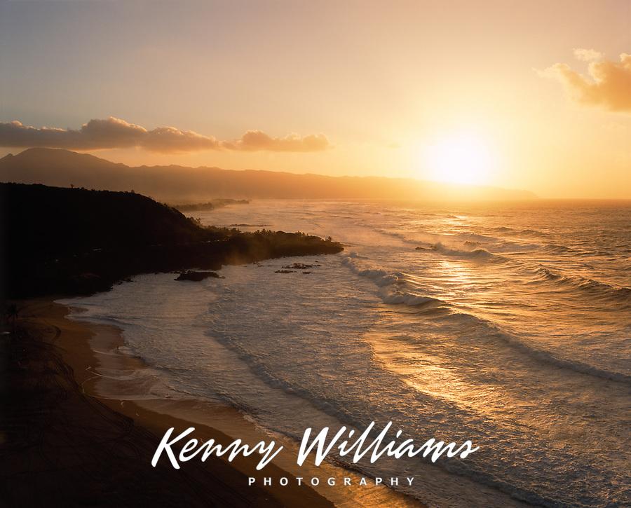Waimea Bay at Sunset, Oahu, Hawaii, USA.