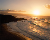 Waimea Bay at Sunset, Oahu, Hawaii, USA.
