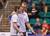 December 20, 2014, Rotterdam, Topsport Centrum, Lotto NK Tennis, Men's doubles final, winners Wesley Koolhof (L) and his partner Thiemo de Bakker celebrate<br /> Photo: Tennisimages/Henk Koster