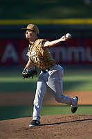 Down East Wood Ducks starting pitcher Christian Torres (21) in action against the Winston-Salem Dash at BB&T Ballpark on May 12, 2018 in Winston-Salem, North Carolina. The Wood Ducks defeated the Dash 7-5. (Brian Westerholt/Four Seam Images)