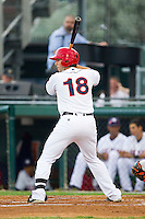 Carlos Lopez (18) of the Hagerstown Suns at bat against the Delmarva Shorebirds at Municipal Stadium on April 11, 2013 in Hagerstown, Maryland.  The Shorebirds defeated the Suns 7-4 in 10 innings.  (Brian Westerholt/Four Seam Images)