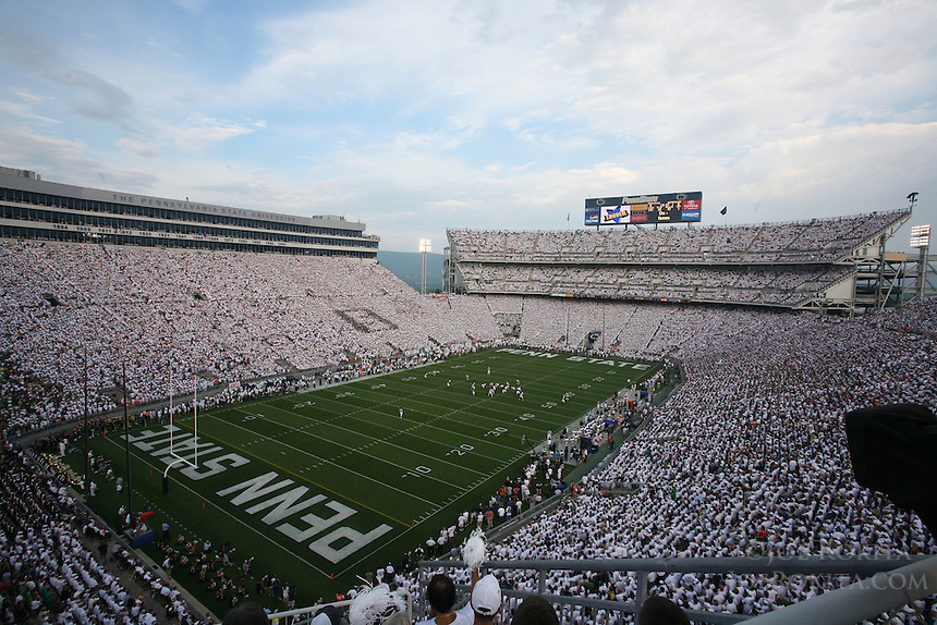 """State College, PA -- 09/8/2007 -- The second-largest crowd in Beaver Stadium history participated in a """"whiteout"""" during the Nittany Lions game against Notre Dame.  Penn State defeated Notre Dame by a score of 31-10 on Saturday, September 8, 2007, at Beaver Stadium.    ..Photo:  Joe Rokita / JoeRokita.com"""
