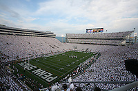 "State College, PA -- 09/8/2007 -- The second-largest crowd in Beaver Stadium history participated in a ""whiteout"" during the Nittany Lions game against Notre Dame.  Penn State defeated Notre Dame by a score of 31-10 on Saturday, September 8, 2007, at Beaver Stadium.    ..Photo:  Joe Rokita / JoeRokita.com"